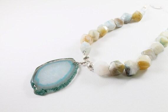 Agate geode necklace druzy jewelry blue