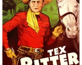 """Tex Ritter - Riders of the Frontier - Home Theater Decor - Classic Western Movie Poster Print  13""""x19"""" - Man Cave Cowboy Movie Poster"""