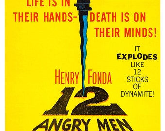 "12 Angry Men - Home Theater Media Room Decor - Classic Movies Poster Print - 13""x19"" or 24""x36"" - Henry Fonda - Twelve Angry Men"