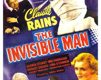"The Invisible Man - Home Theater Decor - Horror Movie Poster Print  13""x19"" - Vintage Movie Poster - Claude Rains HG Wells"