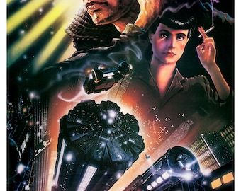 """Blade Runner - Sci Fi Movie Poster Print - 13""""x19"""" or 24""""x36"""" - Home Theater Decor - Media Room Decor - Harrison Ford - Science Fiction"""