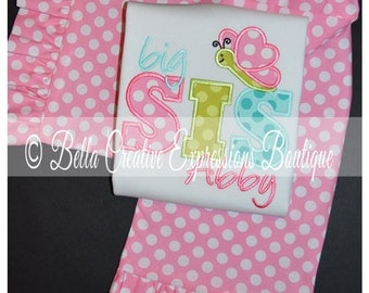 Big Sis or Lil Sis Butterfly Appliqued Bodysuit or Shirt