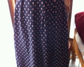 1970s pleated navy blue wool skirt size 12 14 16
