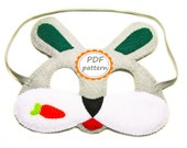 PDF PATTERN: Bunny felt mask - DIY forest animal mask sewing tutorial - One size fits Kids and Adults - for boys girls - Instant Dawnload