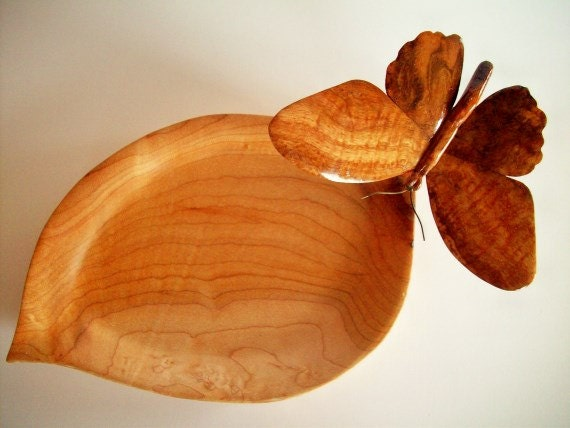 Oak Burl Hand Carved Butterfly Mounted on Maple Wood Hand Leaf Carved Bowl