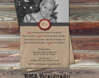 DIY Printable Photo Birthday Invitation 18th, 21st, 30th, 40th, 50th ...