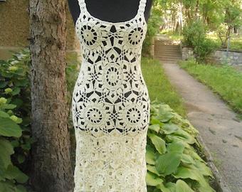 Crochet Dress, Summer Lace Dress,  Champagne Dress, Crochet Beach Dress, Exclusive Handmade Dress, Elegant Crochet Dress, Crochet Flower
