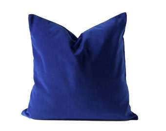 Royal Blue Decorative Pillow Cover- 16x16 TO 26x26 Medium Weight Cotton Velvet- Invisible Zipper Closure- Knife Or Piping Edge