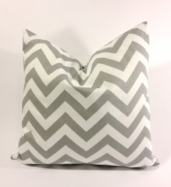 20x20 Twill Chevron Decorative Pillow Cover - Lt. Gray and White - Medium Weight Cotton- Invisible Zipper Closure- Cushion Cover
