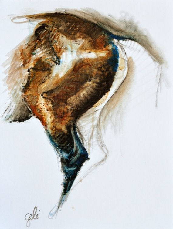 Equine nude IV, Oil Painting Study of a horse's croup