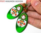 Matryoshka Russian doll Earrings, With polish folk motif, Long oval dangle, Fresh green, gift for her under 25