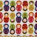 1/2 yard LAMINATED cotton fabric - 18 x 40 - Nesting Kukla dolls - BPA free - Approved for children's products