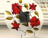 Hand painted glass wall clock, Glass Wall Clock, Red Rose design, Home Decor, Wall Decor