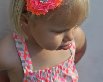 Neon pink and orange headband- newborn, infant, child, teen or adult sizes