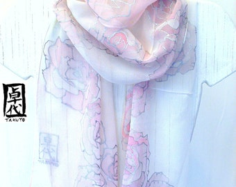 Hand Painted Silk Scarf, White Scarf, Pastel Pink Roses Pink Floral Scarf, White Silk Scarf, Wedding Scarf, 11x90 inches. Made to order.
