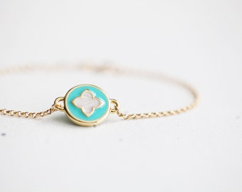 Turquoise Clover Bracelet - round turquoise charm with ivory clover on 14k gold filled chain