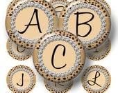 Alphabet, Bottle Cap Images, CHEETAH ANIMAL PRINT, Digital Collage Sheet, 1 Inch Circles, Instant Download