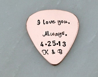 Hand Stamped Guitar Pick - Custom Guitar Pick - Personalized Guitar Pick - Gift for Dad