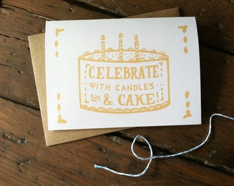 Candles & Cake Illustrated Birthday Card