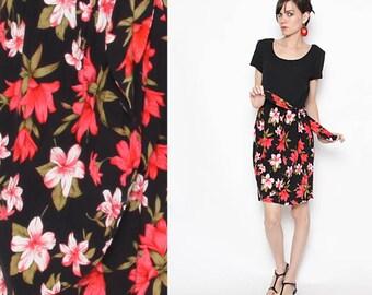 Vintage 90s Black Red Floral Dress With Side Tie / Scoop Neck Dress / S M