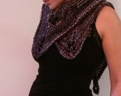 Hand Knit Triangles Shawl (purple, brown, cream, white) (Ready to Ship)