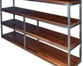 Floating Walnut and raw steel bookcase