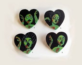 hand painted zombie black heart pin - anti valentines day - undead love - brooch