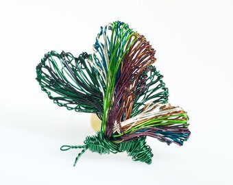 Butterfly brooch pin Green jewelry Wire jewelry Insect brooch Wire sculpture Art brooch Butterfly jewelry Unusual gift for her Modern brooch