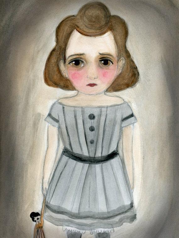 Victorian Goth Child, Art Print, 19th Century Girl, Portrait Illustration (6x8) Watercolor Painting, Nursery Room Decor