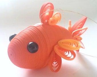 Orange Goldfish Ornament, Goldfish Christmas Decoration, Koi Fish in Bright Shades of Orange Paper Quilled Ornament