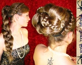CUSTOM SUPERSIZE Fantasy BRAID chignon hair fall extension 20''/ 50 cm long Steampunk accessory Formal wedding wig updo Medieval Renaissance