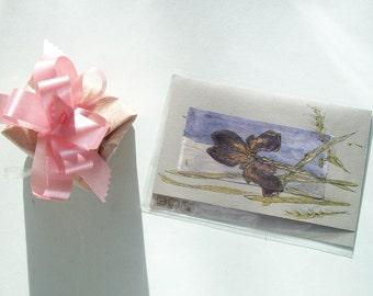 Black Iris and golden grasses  - blank greeting card for any event - Dark brown Iris - Purple Iris