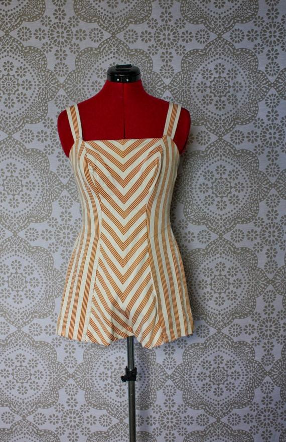 Vintage 1950's Rose Marie Reid Orange and Cream Chevron Stripe Pinup Bathing Suit Swimsuit