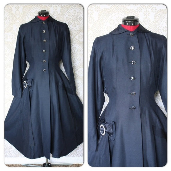 Reserved Listing Vintage 1940's Navy Blue Princess Cut Dress Coat with Rhinestone Buttons XS/Small