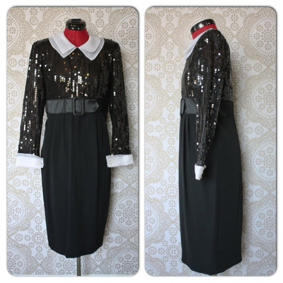 Vintage 1980's Black Cocktail Dress with Sequined Top and White Collar and Cuffs Medium