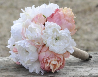 Silk Wedding Bouquet, Wedding Bouquet, Keepsake Bouquet, Bridal Bouquet, Blush Pink, Coral and Ivory Peony silk flower bouquet.