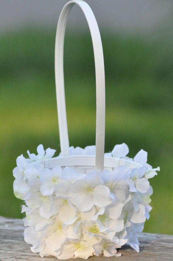 Flower Girl Basket Montreal : Wedding flowers white hydrangea flower girl basket