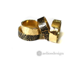 Men's Textured Brass Ring - Shiny or Oxidised -  Choose your finish