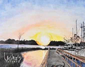 Florida Marina Scene Dog Sunset Dock MAC Number 1-  8 x 10