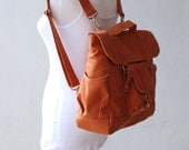 Big SALE - 30% - BackPack in pumpkin, Women Backpack , Satchel, Rucksack, Diaper Backpack, School Backpack, Gift for Her