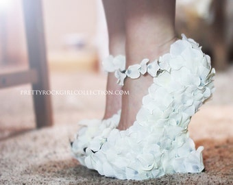 Rose Petal Wedge Wedding Shoes Bridal Hand Made White