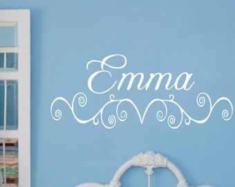 Baby Girl Nursery Wall Decal Name Vinyl Sticker Decor