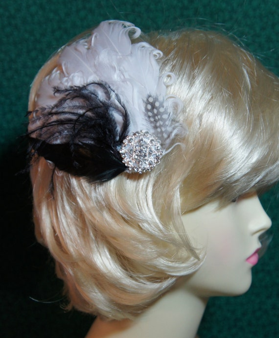 Black and White Feather Goose Nagorie Hair Clip Fascinator with Ostich feathers and Rhinestones