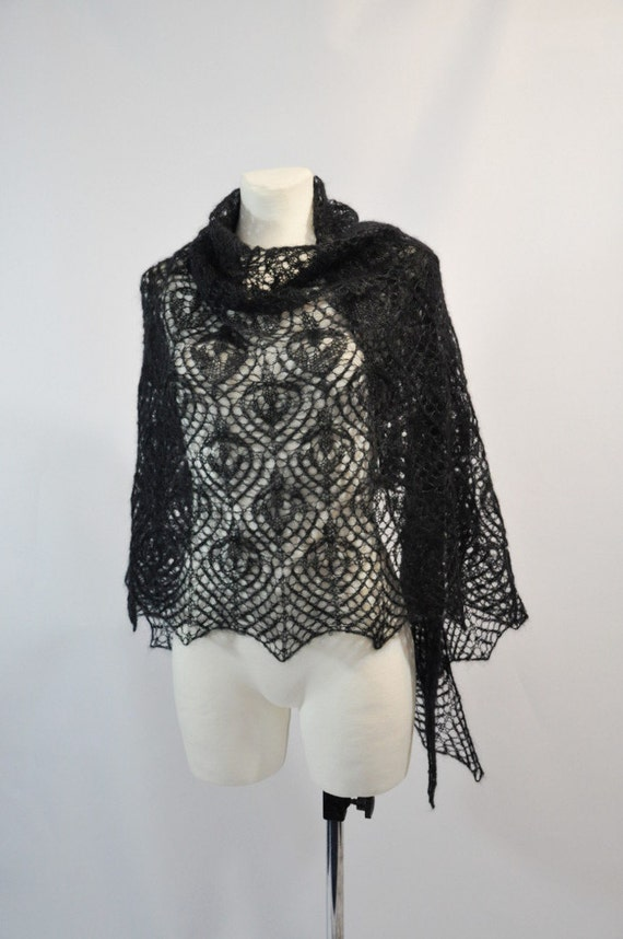Black knit kid mohair and silk woman lace shawl - Mother's Day gift idea