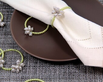 Beaded Napkin Rings in Green and White Pearl Flowers Set of Six