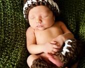 Halloween Costume Baby Crochet Football Hat and Leggings Set - Treasured Little Creations