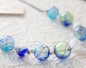 OOAK Glass Statement Necklace Blue Bubbles