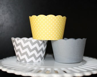 Chevron Stripe, Yellow and white polka dot and Solid Grey Cupcake Wrapper.
