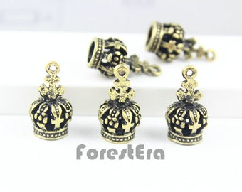 5Pcs 17x8mm Antique Brass imperial crown Charm Pendant (PND048)