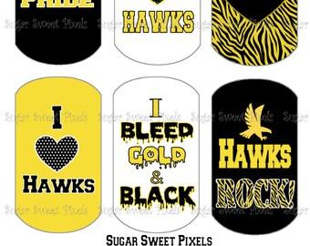 INSTANT DOWNLOAD Hawks School Mascot Black & Gold Digital Dog Tag Images 4x6 sheet
